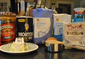 "Photo of Ingredients for blog post, ""Study Break Surprise COokies,"" on www.SATgourmet.com, by author of Cook Your Way Through The S.A.T., Charis Freiman-Mendel."